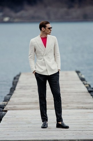 How to Wear a White Double Breasted Blazer For Men: Make a white double breasted blazer and black dress pants your outfit choice if you're aiming for a neat, stylish outfit. Puzzled as to how to round off? Introduce a pair of black leather loafers to the mix to mix things up a bit.