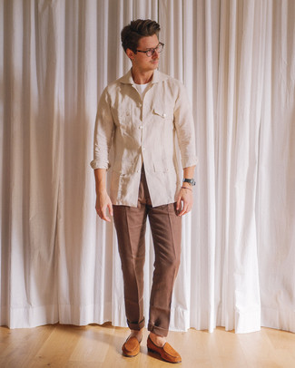 How to wear: tobacco suede loafers, brown dress pants, white crew-neck t-shirt, beige linen field jacket