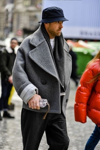 How to wear: black hat, black wool dress pants, white crew-neck t-shirt, grey pea coat