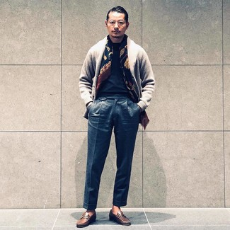 How to wear: brown leather loafers, charcoal wool dress pants, black crew-neck t-shirt, grey shawl cardigan