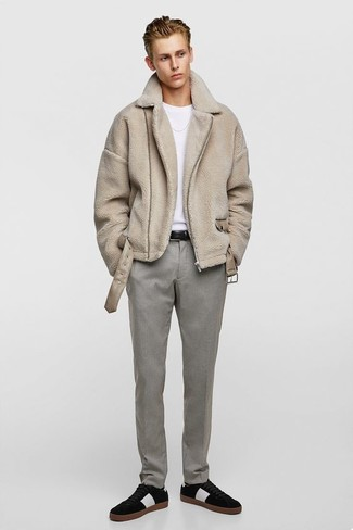How to wear: black suede low top sneakers, grey dress pants, white crew-neck t-shirt, beige shearling coat
