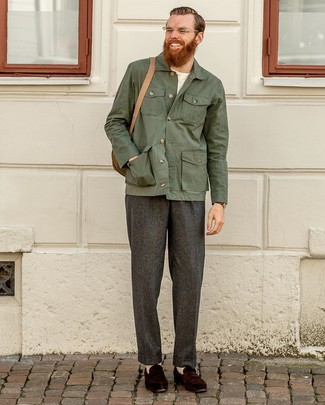 How to wear: dark brown suede loafers, charcoal wool dress pants, white crew-neck t-shirt, dark green shirt jacket