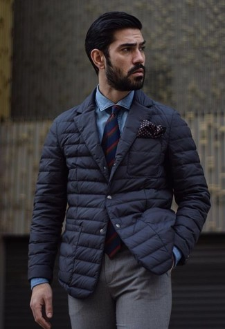 How to Wear a Black Quilted Blazer For Men: A black quilted blazer looks so polished when paired with grey wool dress pants in a modern man's combo.