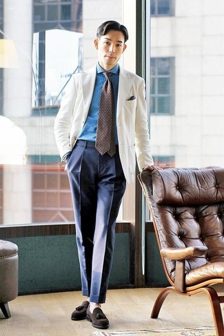 How to wear: dark brown suede tassel loafers, navy dress pants, blue denim shirt, white blazer