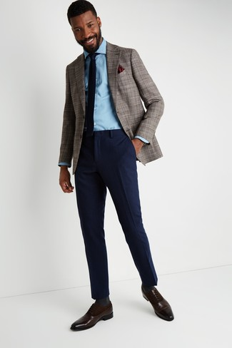 How to wear: dark brown leather oxford shoes, navy wool dress pants, light blue denim shirt, brown houndstooth blazer