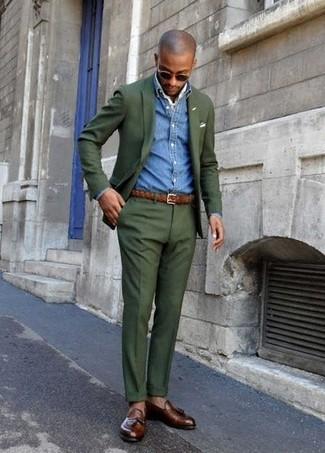 How to wear: dark brown leather tassel loafers, dark green dress pants, blue denim shirt, dark green blazer