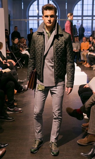 How to wear: dark green athletic shoes, grey gingham wool dress pants, grey double breasted blazer, olive quilted bomber jacket
