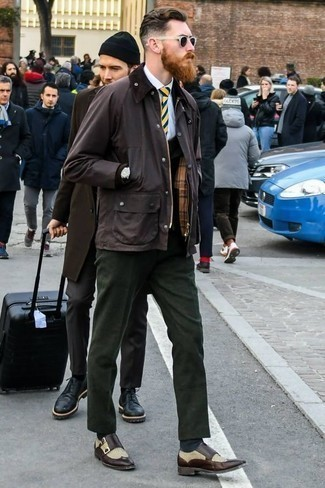 How to Wear Dark Brown Leather Double Monks: A dark brown barn jacket and dark green dress pants make for the ultimate dapper look. Add a pair of dark brown leather double monks to the equation and the whole look will come together brilliantly.