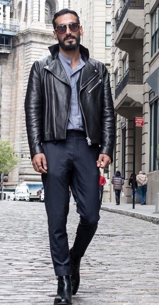 How to wear: black leather chelsea boots, black dress pants, grey dress shirt, black leather biker jacket