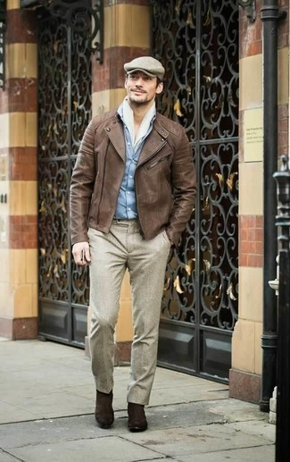 How to Wear Dark Brown Suede Chelsea Boots For Men: Pair a brown leather biker jacket with beige dress pants and you'll create a proper and classy look. A nice pair of dark brown suede chelsea boots pulls this outfit together.