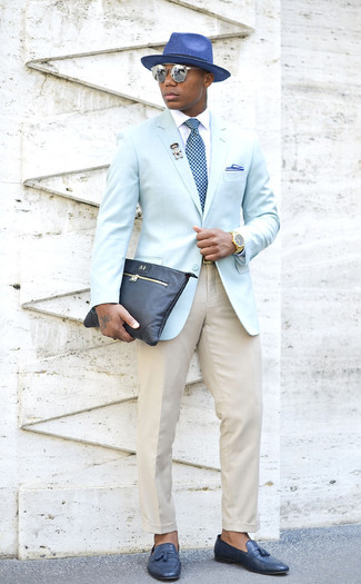 How to wear: navy leather tassel loafers, beige dress pants, white dress shirt, light blue blazer