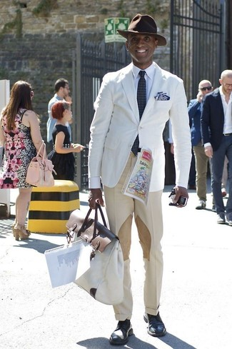 How to wear: navy leather derby shoes, beige dress pants, white dress shirt, white blazer