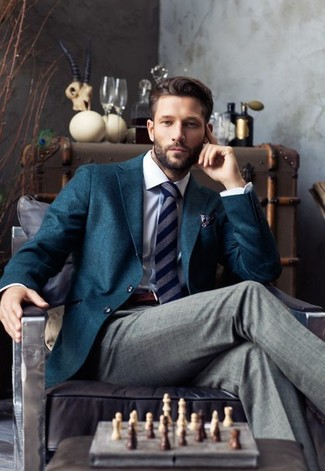 How to wear: navy vertical striped tie, grey dress pants, white dress shirt, teal blazer