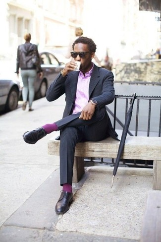 How to wear: navy leather derby shoes, navy vertical striped dress pants, light violet dress shirt, navy vertical striped blazer