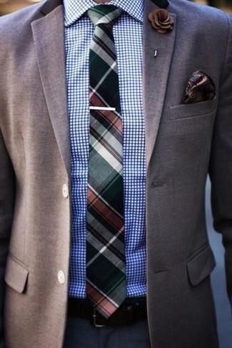 How to wear: dark green plaid tie, navy dress pants, white and blue check dress shirt, brown blazer