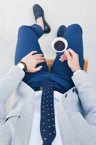 How to wear: navy leather loafers, blue dress pants, white dress shirt, grey blazer