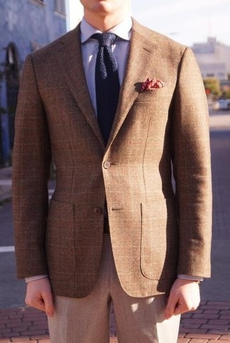 How to wear: navy knit tie, grey wool dress pants, light violet dress shirt, brown plaid blazer