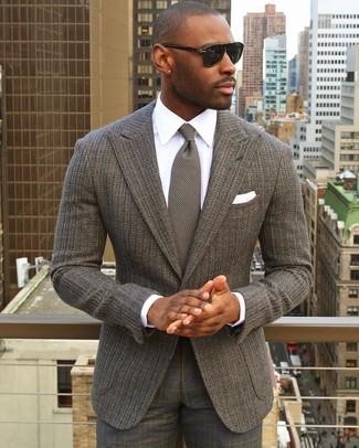 How to wear: grey knit tie, grey plaid dress pants, white dress shirt, grey knit blazer