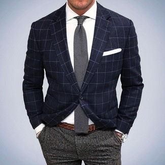 How to wear: grey knit tie, grey wool dress pants, white dress shirt, navy check blazer