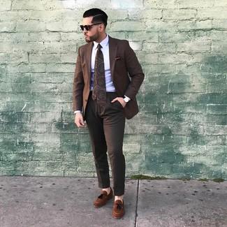How to wear: brown suede tassel loafers, dark brown dress pants, white dress shirt, brown check blazer