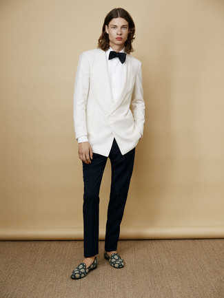 How to wear: teal suede loafers, black dress pants, white dress shirt, white blazer