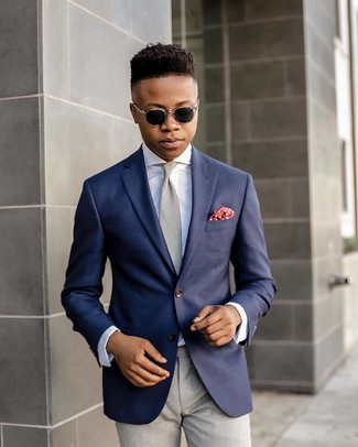 How to wear: grey tie, grey dress pants, white dress shirt, navy blazer