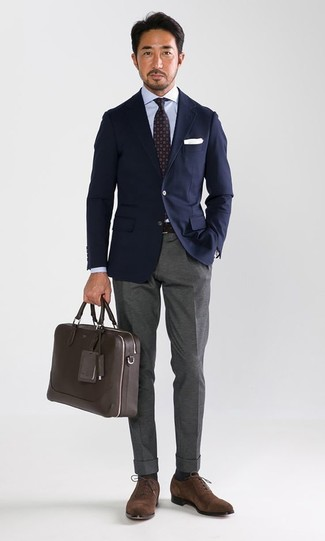 How to wear: brown suede oxford shoes, grey dress pants, light blue dress shirt, navy blazer