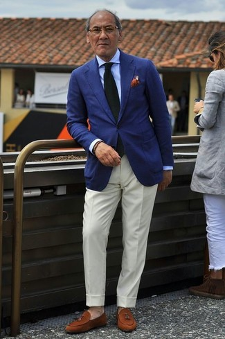 How to wear: tobacco suede tassel loafers, white dress pants, light blue dress shirt, navy blazer