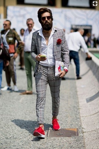 How to wear: red athletic shoes, grey plaid dress pants, white dress shirt, grey plaid blazer