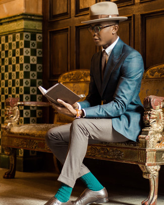 How to wear: brown leather double monks, grey dress pants, white dress shirt, teal plaid blazer