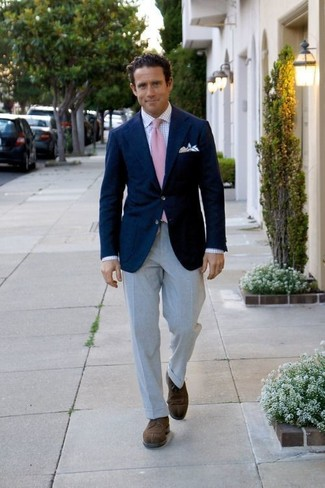How to wear: dark brown suede derby shoes, grey dress pants, white check dress shirt, navy blazer