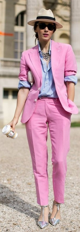 How to wear: silver leather pumps, hot pink dress pants, light blue vertical striped dress shirt, hot pink blazer