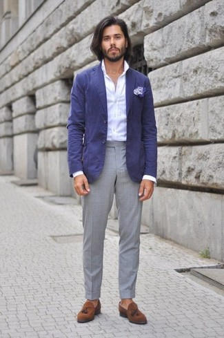 How to wear: brown suede tassel loafers, grey dress pants, white dress shirt, blue cotton blazer