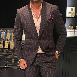 How to wear: dark brown silk pocket square, dark brown vertical striped dress pants, pink dress shirt, dark brown vertical striped blazer