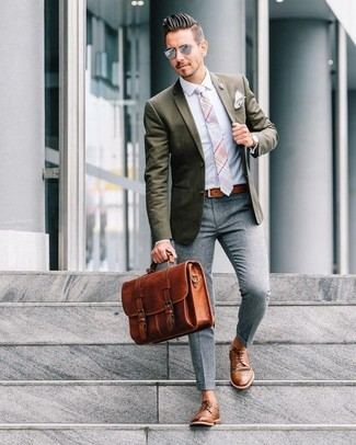How to wear: brown leather derby shoes, grey wool dress pants, light blue dress shirt, olive blazer