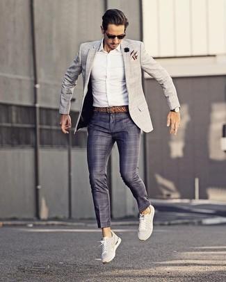 How to wear: white low top sneakers, navy plaid dress pants, white dress shirt, grey check blazer