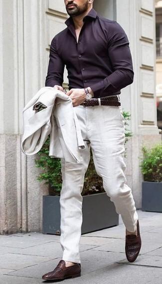 How to wear: dark brown leather loafers, beige linen dress pants, dark brown dress shirt, beige linen blazer