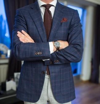 How to wear: dark brown knit tie, grey wool dress pants, white dress shirt, navy plaid wool blazer
