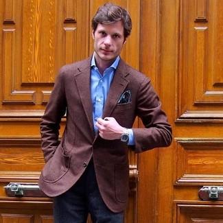 How to wear: teal paisley pocket square, charcoal wool dress pants, blue dress shirt, brown wool blazer