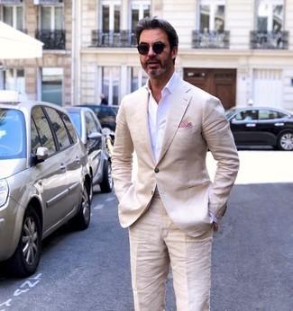 How to wear: red pocket square, beige linen dress pants, white dress shirt, beige linen blazer