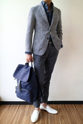 How to wear: white leather loafers, charcoal wool dress pants, navy dress shirt, grey tweed blazer