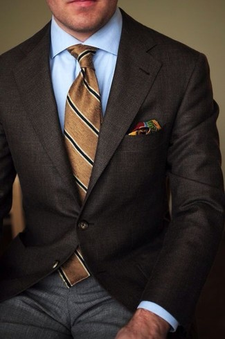 How to wear: brown vertical striped tie, grey dress pants, light blue dress shirt, dark brown blazer