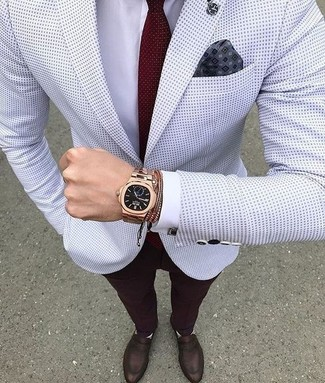 How to wear: dark brown leather loafers, burgundy dress pants, white dress shirt, white polka dot blazer