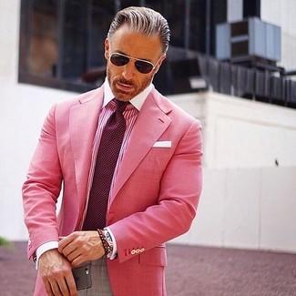 How to wear: burgundy polka dot tie, grey dress pants, hot pink vertical striped dress shirt, hot pink blazer