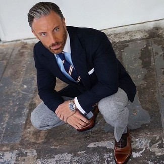 How to wear: brown leather oxford shoes, grey check dress pants, light blue dress shirt, black blazer
