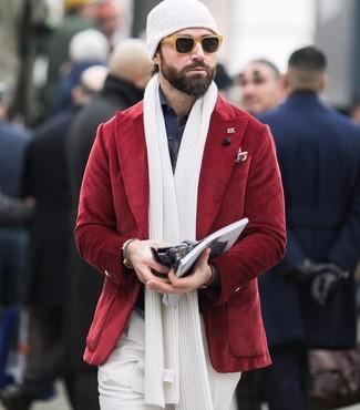 How to wear: white beanie, white dress pants, navy dress shirt, red corduroy blazer