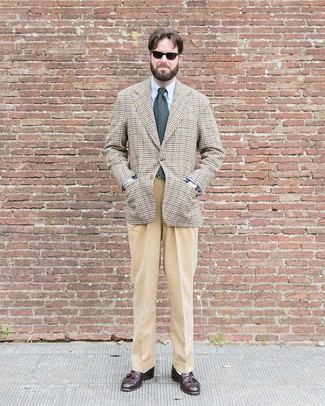 How to wear: dark brown leather tassel loafers, khaki dress pants, light blue dress shirt, beige houndstooth blazer