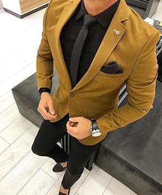 How to wear: black leather tassel loafers, black dress pants, black dress shirt, mustard wool blazer