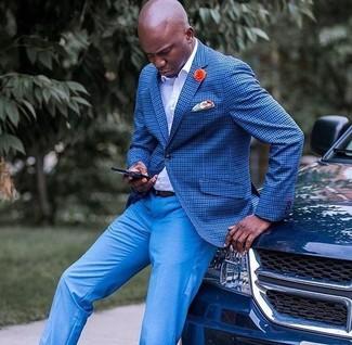 How to wear: orange print pocket square, blue dress pants, white dress shirt, blue check blazer