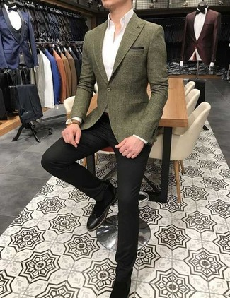 How to wear: black suede chelsea boots, black dress pants, white dress shirt, olive blazer